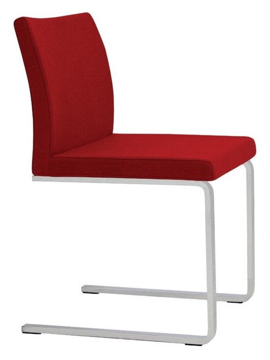 """Aria Flat Chair by sohoConcept - Aria Flat is a stylish chair with a comfortable upholstered seat and backrest on a chromed solid steel cantilever framed leg structure with embedded plastic gliders on the bottom. The seat has a steel structure with """"S"""" shape springs for extra flexibility and strength. This steel frame molded by injecting polyurethane foam. Aria Flat seat is upholstered with a removable velcro enclosed leather, PPM or wool fabric slip cover. The chair is suitable for both residential and commercial use."""