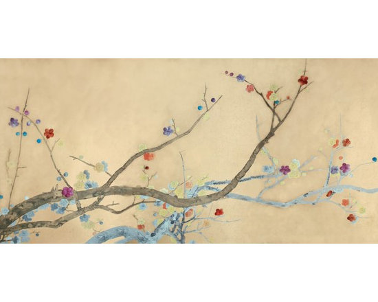 various projects and designs - griffin and wong,   this project was designed for a high-end estate,and was designed for positioning over a bar.   The design shows embroidered flowers at a 1:3 ratio to painted blossoms.