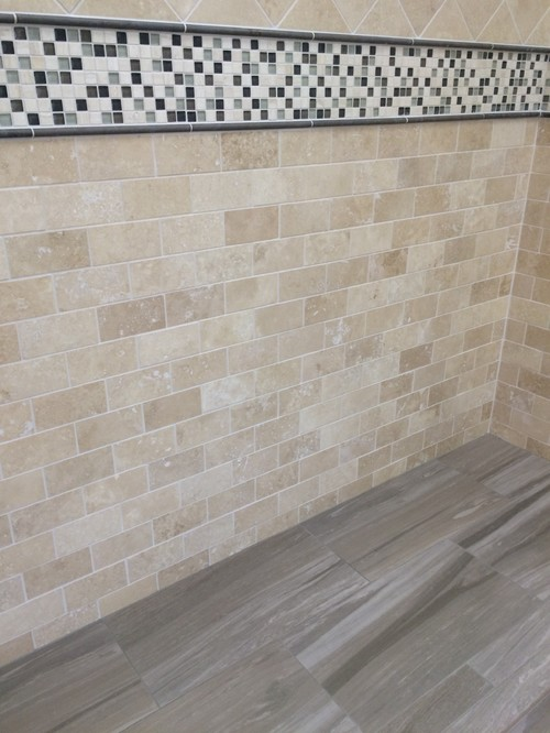 Dark Porcelain Title Bathroom Floor With Half Wall Tile