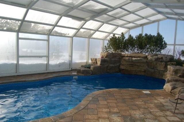 Inside Pool Enclosure Winter Modern Hot Tub And Pool