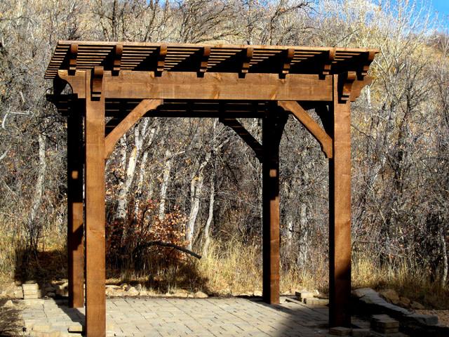 Lounge size pergolas rustic patio salt lake city for Rustic gazebo plans