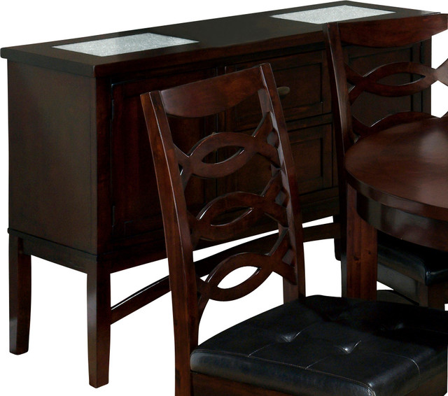 Jofran 863 95 chadwick 2 door and 2 drawer server with 2 for Kitchen table with glass insert