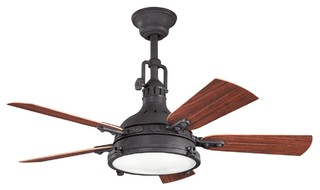 "44"" Hatteras Bay Patio 44"" Ceiling Fan Distressed Black - Rustic - Ceiling Fans - by Hansen ..."