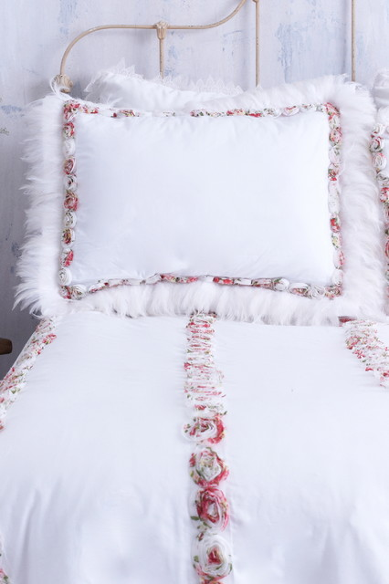 White Pillow Sham with Colorful Rosettes & Feather Trim farmhouse-shams