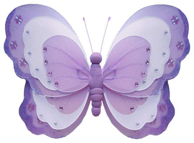 Butterfly decorations x large purple hanging triple layered butterflies wall cei traditional - Butterflies wall decorations ...