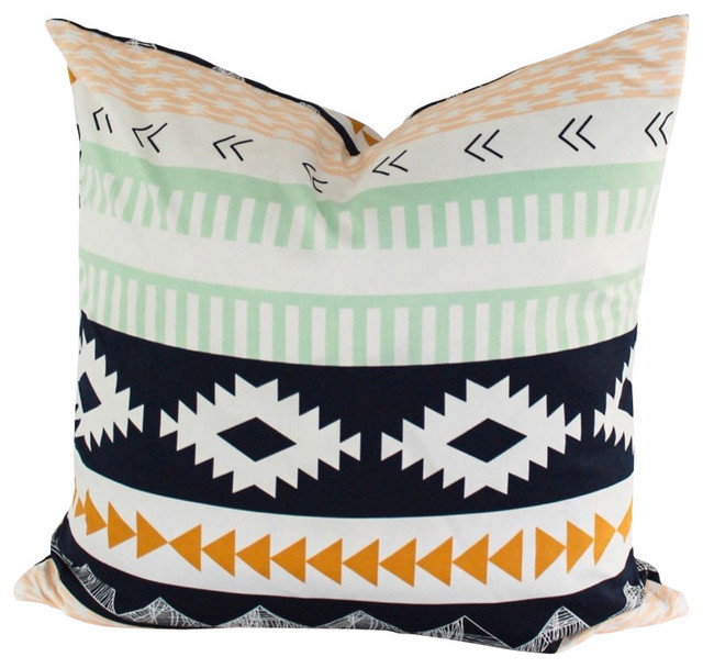 Southwestern Print Throw Pillows : Aztec Geometric Throw Pillow Cover, Modern Southwestern Navajo Stripes, 16 Inch - Southwestern ...