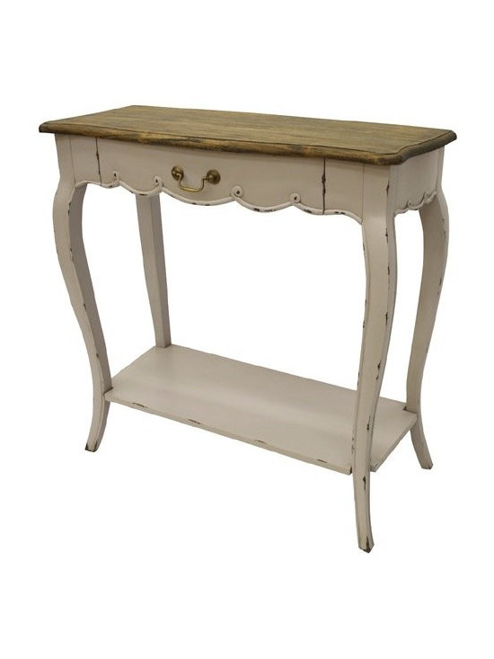 Chichi Furniture Exclusives. - A charming console table finished in pastel lilac with heavy distressing, featuring a French Country Rustic Farmhouse finished top sitting on an elegant console frame and long cabriole style legs leading down to a lower shelf. This piece would look perfect adorning your hallway or even your kitchen with some decorative baskets underneath.