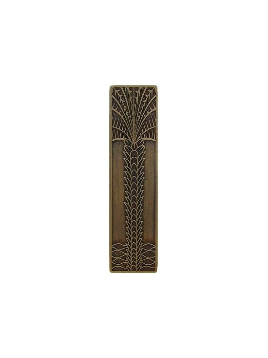 """Inviting Home - Vertical Royal Palm Pull (antique brass) - Hand-cast Vertical Royal Palm Pull in antique brass finish; 1""""W x 4""""H; Product Specification: Made in the USA. Fine-art foundry hand-pours and hand finished hardware knobs and pulls using Old World methods. Lifetime guaranteed against flaws in craftsmanship. Exceptional clarity of details and depth of relief. All knobs and pulls are hand cast from solid fine pewter or solid bronze. The term antique refers to special methods of treating metal so there is contrast between relief and recessed areas. Knobs and Pulls are lacquered to protect the finish."""