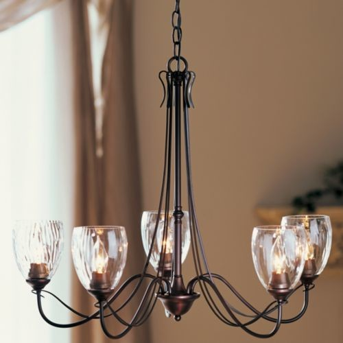Trellis Five Arms Chandelier With Water Glass by Hubbardton Forge modern-everyday-glasses