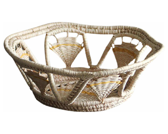 Woven Basket - Perfect, little, woven basket. Gentle yellow detailing on this natural fiber basket.