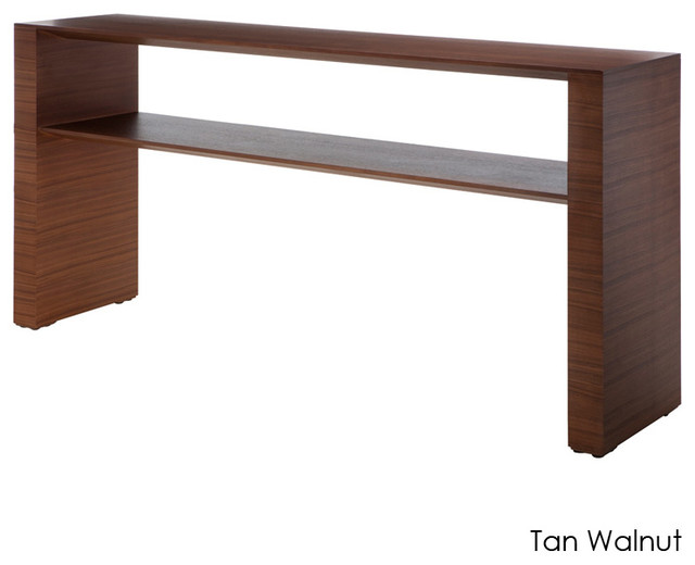 Inga console table tan walnut small modern side for Small console tables contemporary