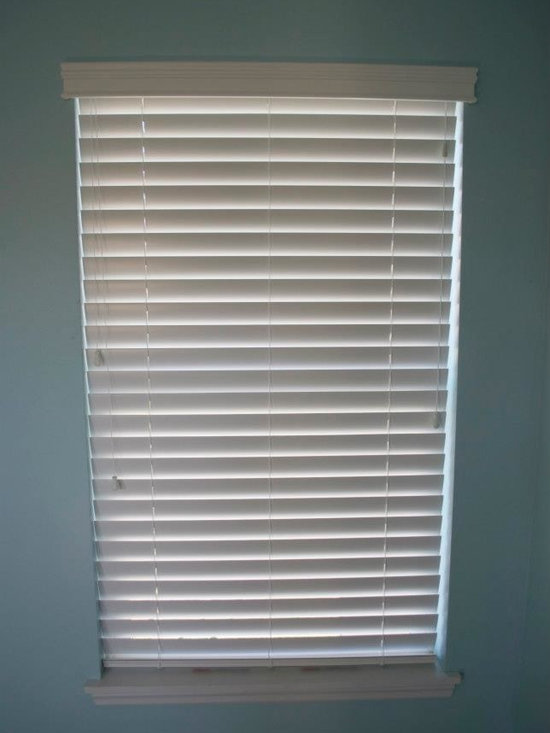 Residential Window Treatments - Saint Louis - Saint Charles - - This window was dressed with Hunter Douglas 2'' Everwood Faux Wood Blinds. They are guaranteed for life not to yellow, warp, or bow. No other manufacturer compares in the quality and craftsmanship of Hunter Douglas. They are made in the United States too!