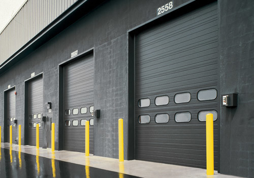 Commercial garage doors with color.