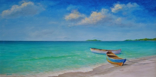 Original Caribbean Seascape Painting Of A Negril Beach tropical-paintings