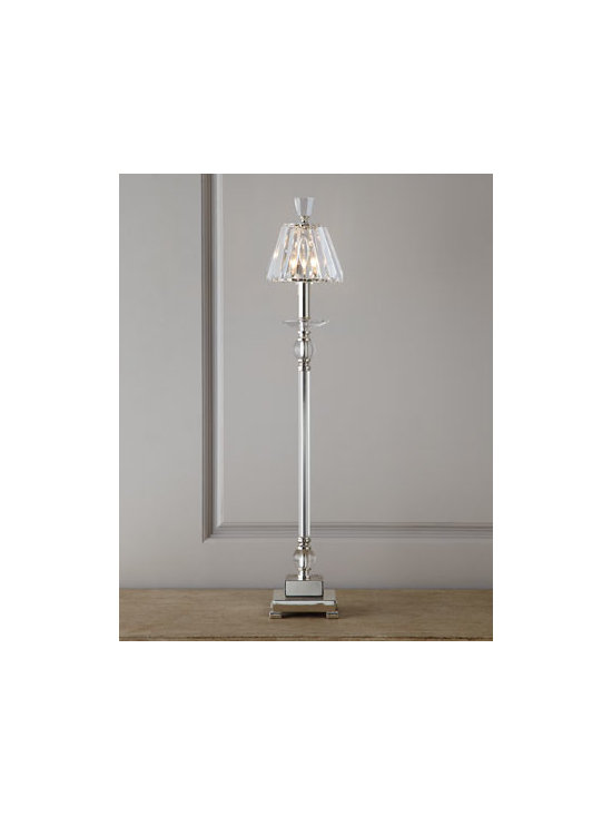 "Horchow - Kalena Buffet Lamp - Tall and slender, this captivating buffet lamp works well in pairs or in places where space is at a premium. Handcrafted of silver-plated metal with glass and crystal detailing. Crystal shade. Inline on-off switch; uses one 60-watt bulb. 6""Dia. x 33""T. Imported."