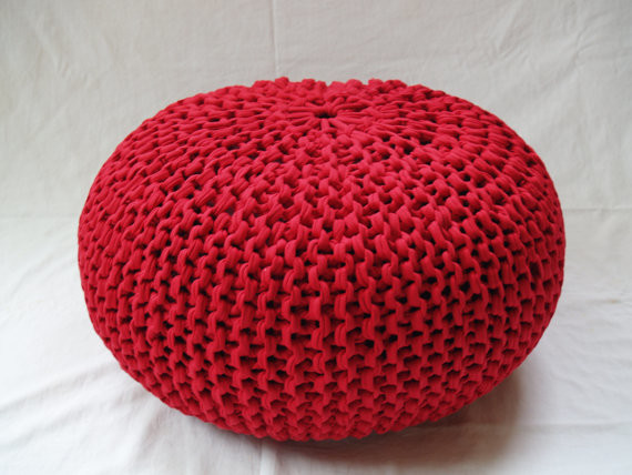Knitted Ribbing Patterns : Hand-Knitted Pouf Ottoman by Helaska - Contemporary - Floor Pillows And Poufs...