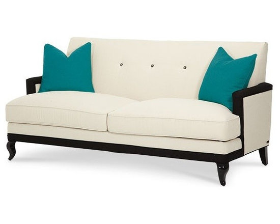 AICO Furniture - After Eight Cream/Turquoise Contemporary 3 Seat Sofa - 19815-CR - After Eight Collection Sofa