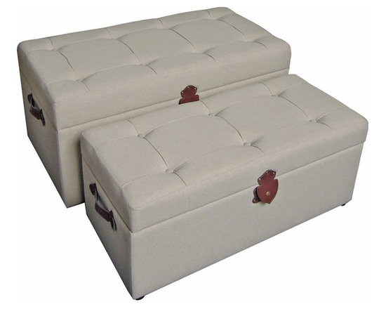 International Caravan - International Caravan Charlotte Set of 2 Tufted Fabric Storage Bench - International caravan - Ottomans - 47B12A15 - Add a touch of classic elegance to your indoor furnishings with this set of two tufted fabric trunks/ benches which feature a tufted cushion top that allows the trunk to double as a comfortable occasional bench
