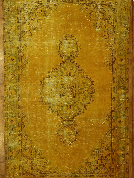 Gold Overdyed Rug - Rich color with hints of underlying pattern revive well-loved vintage Turkish carpets into a truly fabulous area rug.