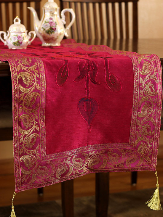 """Elegant Table Runners - Gorgeous """"Hand Painted"""" table runner. Fuchsia color. Decorative Indian design."""