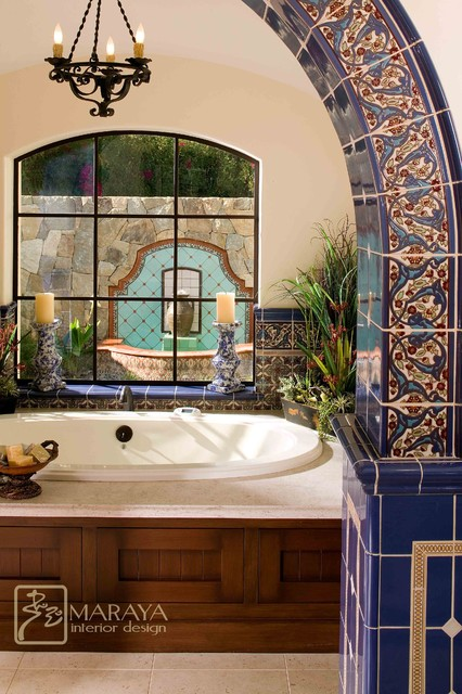 Malibu Tile Bathtub and Fountain mediterranean bathroom