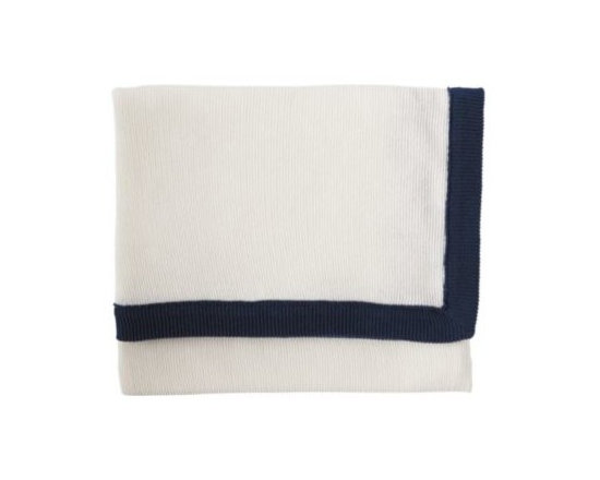 Knit Border Throw  Navy/Ivory