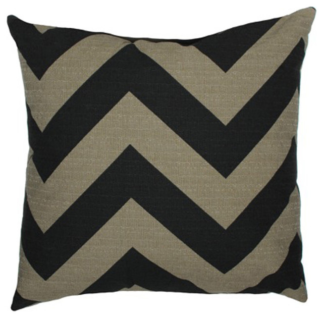 Elisabeth Michael Chevron Black-Stone Throw Pillow - Contemporary - Pillows - by Pure Home