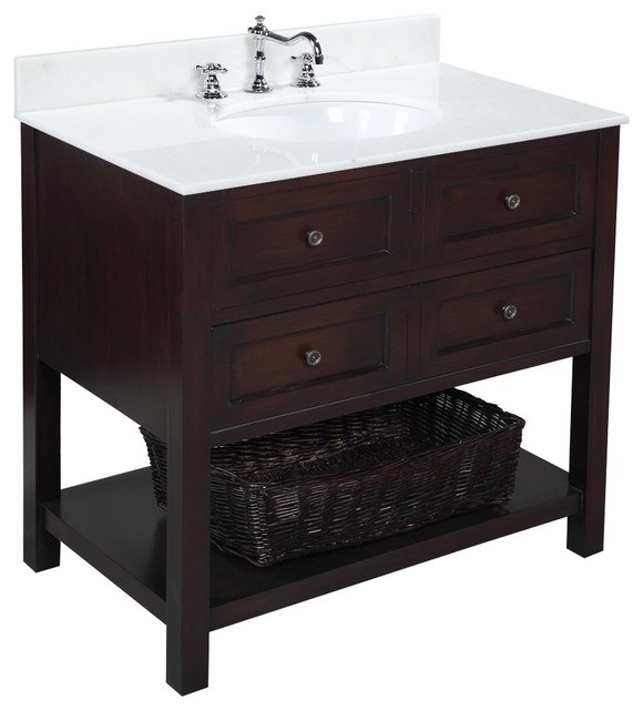 New Yorker 36-in Bath Vanity (White/Chocolate) transitional-bathroom-vanities-and-sink-consoles
