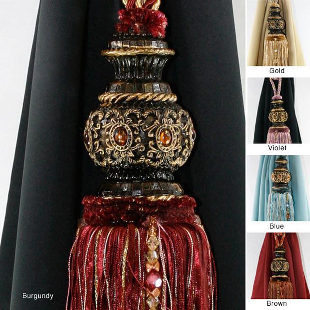 Antique Crystal Head Tassel Curtain Tie Backs Set Of 2