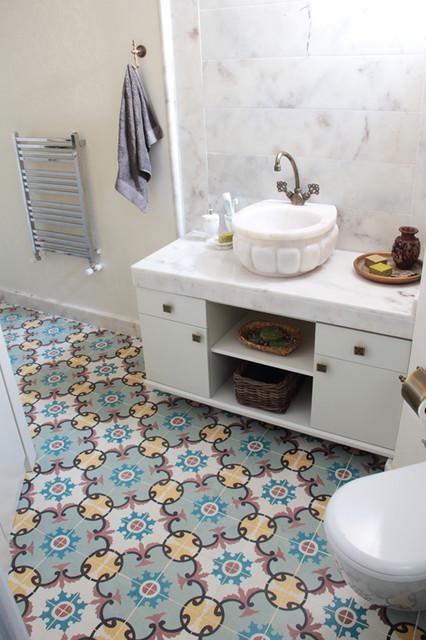 Beautiful Encaustic Tiles New York 360 On Bathroom Floor Looks Really