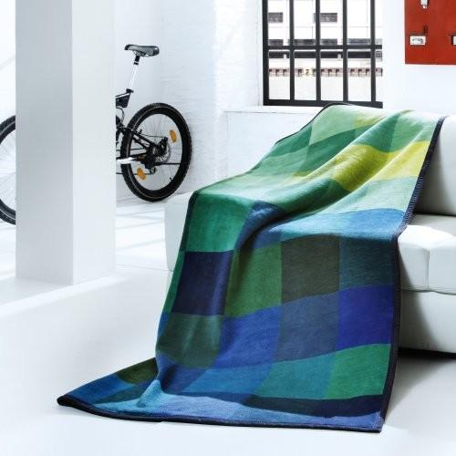 Bocasa Focus Blue Woven Throw Blanket contemporary-throws
