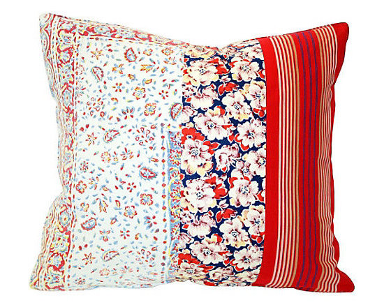 Acapillow - Flowers and Stripes Patchwork Pillow - Flowers, calico and paisley come together and live in harmony in this eclectic pillow crafted from a mix of vintage fabrics. Bright red, Indian block print stripes add an extra punch of color, making it the perfect choice to add a cheery pop of color to your bedroom or liven up your living room sofa.  The zipper closure on the natural hemp backside makes the cover easy to remove for dry cleaning.