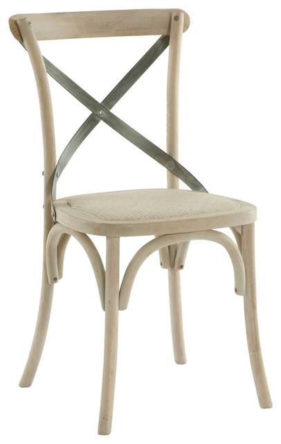 Pair Kasson French Country Paris Cafe Wood Metal Dining Chair Transitional