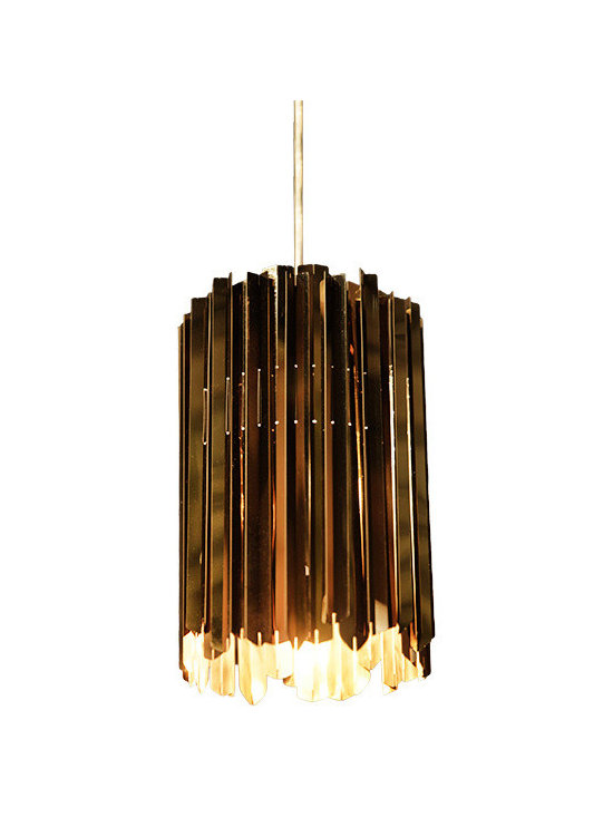 Innermost - Facet Mini Pendant - The Facet Mini Pendant features metal sections arrayed around its circumference to create a surface of small facets. Available in Polished Brass. One 25 watt 120 volt JCD type G9 base halogen bulb is required, but not included. 7 inch diameter x 11 inch height.