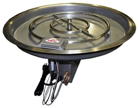 37 Inch Round Bowl Pan Electronic Ignition Fire Pit Kit-Natural Gas contemporary firepits