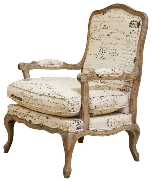 Henry Fine Script Linen Accent Chair Contemporary