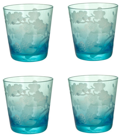 Turquoise Etched Blossom Glasses - Asian - Everyday Glasses - by Branca