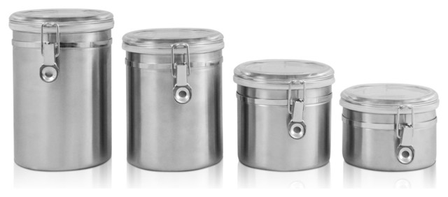 Stainless Steel Canister Set 4 Pc. contemporary-food-containers-and-storage