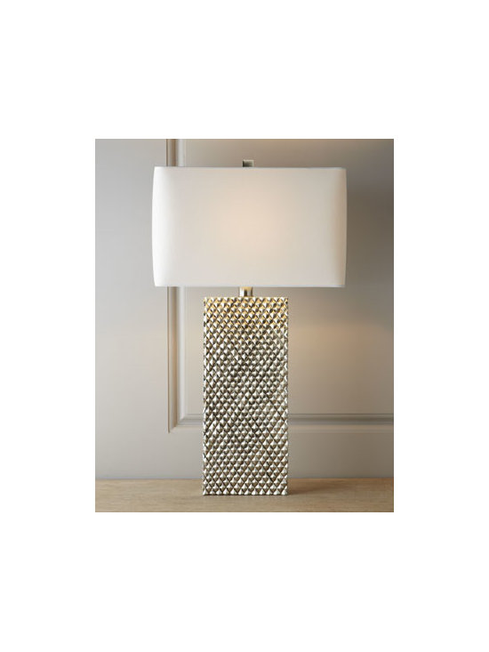 """Regina-Andrew Design - Regina-Andrew Design """"Platinum Stud"""" Lamp - Bring a hip, modern vibe to room lighting with this studded lamp. Made of resin. Linen shade. Switch on socket; uses one 150-watt bulb. 16""""W x 10""""D x 29""""T. Imported."""