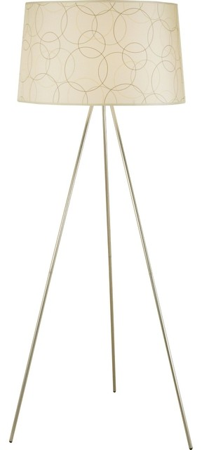 Contemporary Lights Up Brushed Nickel Circles Tripod