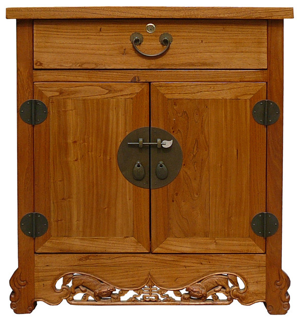 Chinese Round Hardware Foo Dog Carving Side End Table - Asian - Accent Chests And Cabinets - by ...