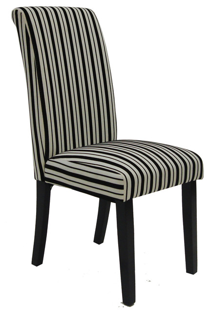 Black and White Tuxedo Stripes Side Chairs Set of 2