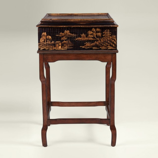 Classic chinoiserie box on stand asian-side-tables-and-end-tables