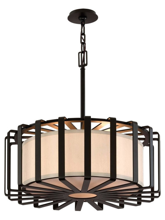 """Troy Lighting Troy 4-Light Drum Pendant in Bronze - Troy Lighting's 4-Light drum pendant comes in a Bronze finish. This product is constructed from Hand-worked Wrought Iron. Dimensions: 13.125"""" high. Approximately 26"""" in diameter. Canopy/Backplate Dimensions: 4.5"""" in diameter."""