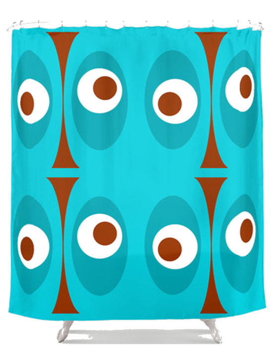 Crash Pad Designs - Crash Pad Designs 50's inspired Shower Curtain - Outfit your bathroom with this playful shower curtain for a pop of color. The mod geometric  design is printed on machine washable woven polyester, which features 12-stitched button holes for hanging. liner and rings are not included.