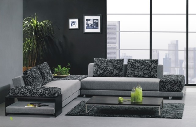 Stylish Two Toned Microfiber Sectional Sofa modern-sectional-sofas