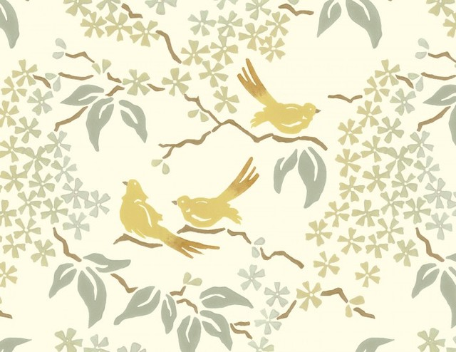 Wallpaper Designs With Birds : Birds wallpaper pale yellow contemporary