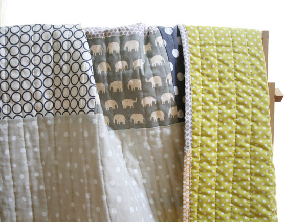 Elephants and Dots Crib Size Handmade Quilt by NAMOO modern crib accessories