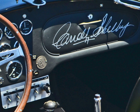 """www.WilliamBrionart.com photo gallery - Photograph by William Brion, """" Signing Off"""", of Carrol Shelby's personal Shelby Cobra #1 which was the first Cobra of the assembly line. He signed the glove compartment to commemorate the moment. This beautiful black Cobra has all the design elements that made the car famous for it's raw power and minimalist design. (Gallery 5)"""
