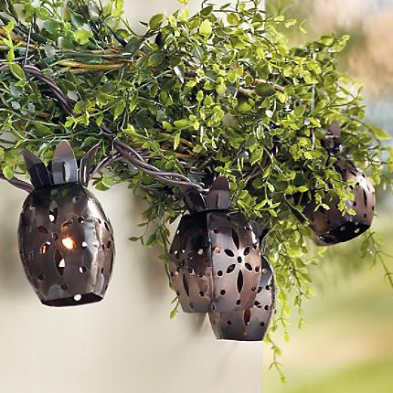 Metal Pineapple Indoor and Outdoor Light Set eclectic outdoor lighting